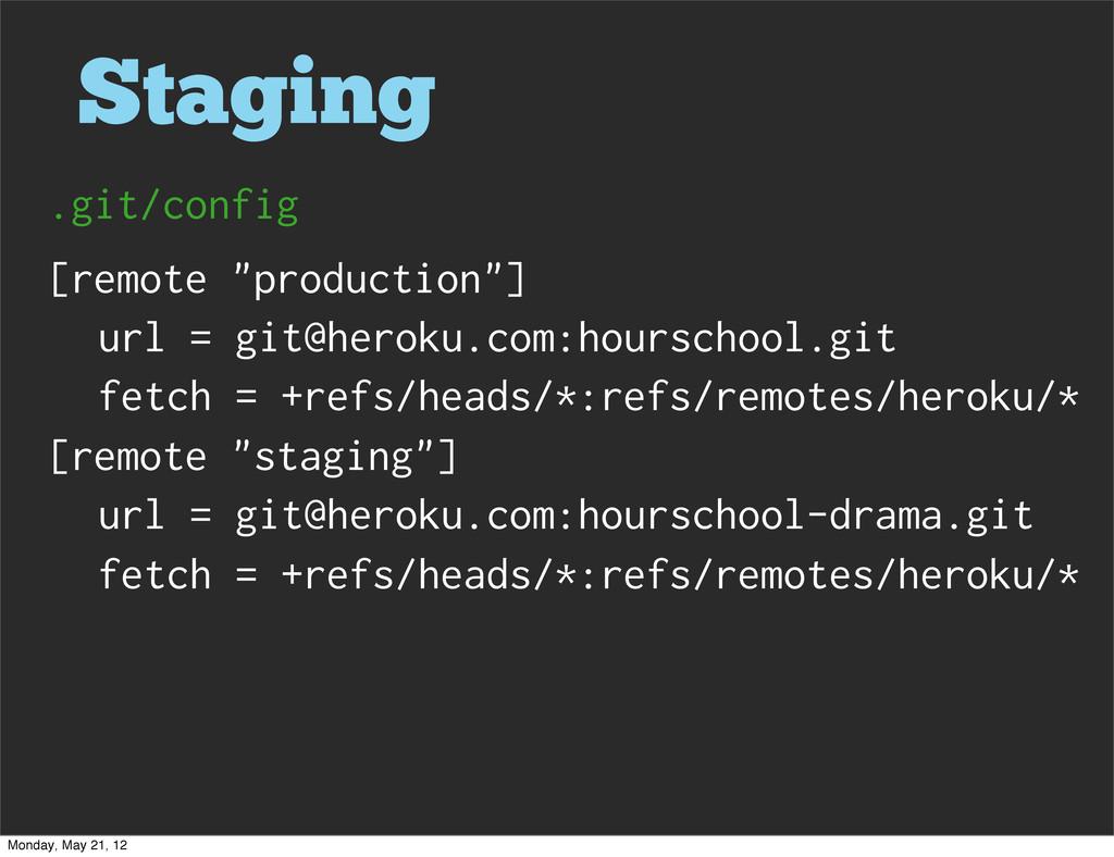 "Staging [remote ""production""] url = git@heroku...."