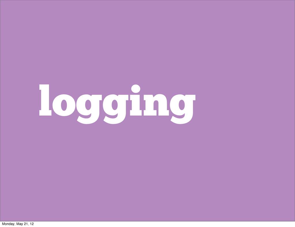 logging Monday, May 21, 12