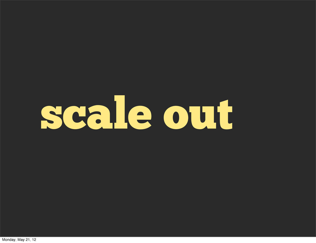scale out Monday, May 21, 12