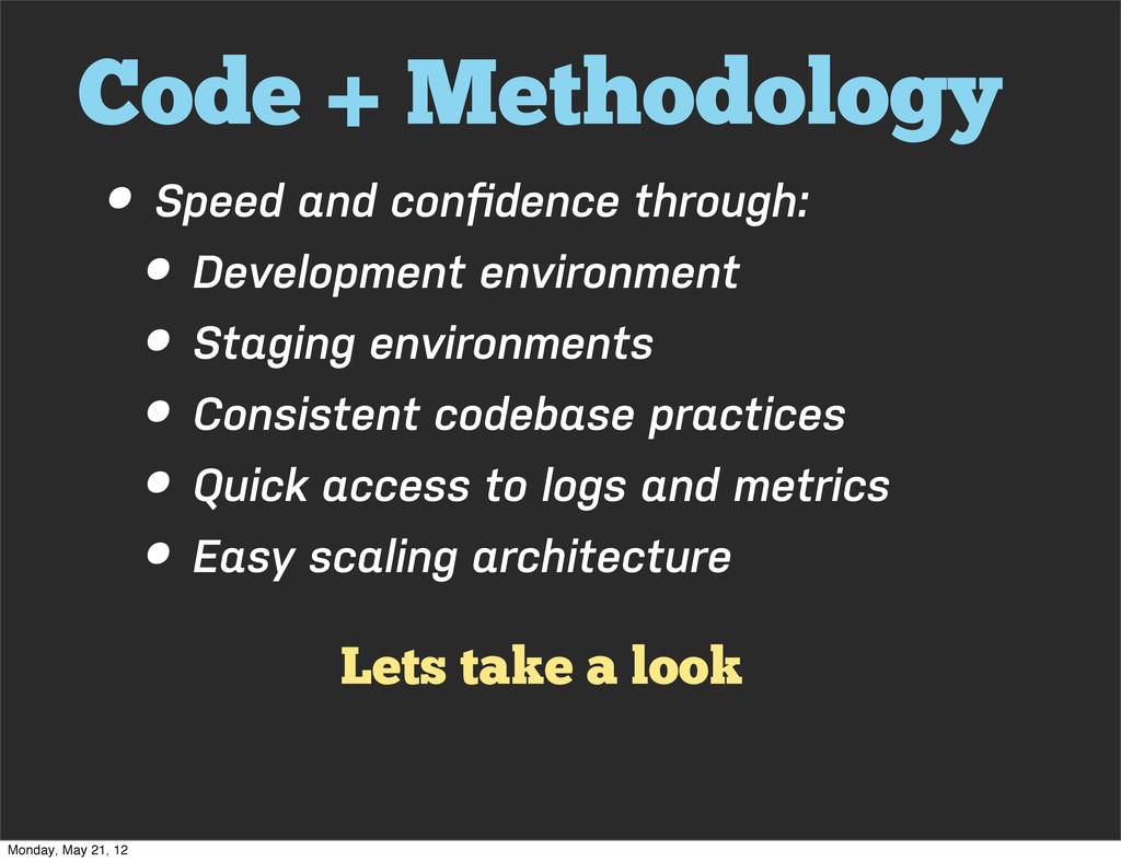 Code + Methodology • Speed and confidence throug...