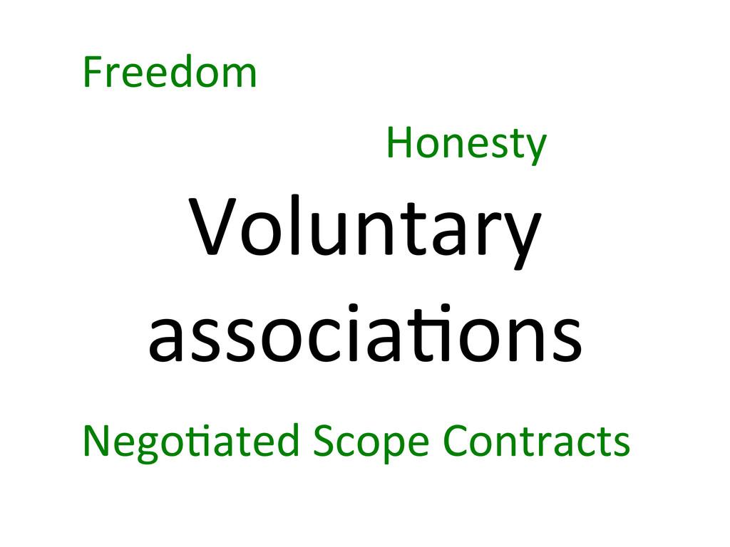 Voluntary  associa7ons  Freedom  Hones...