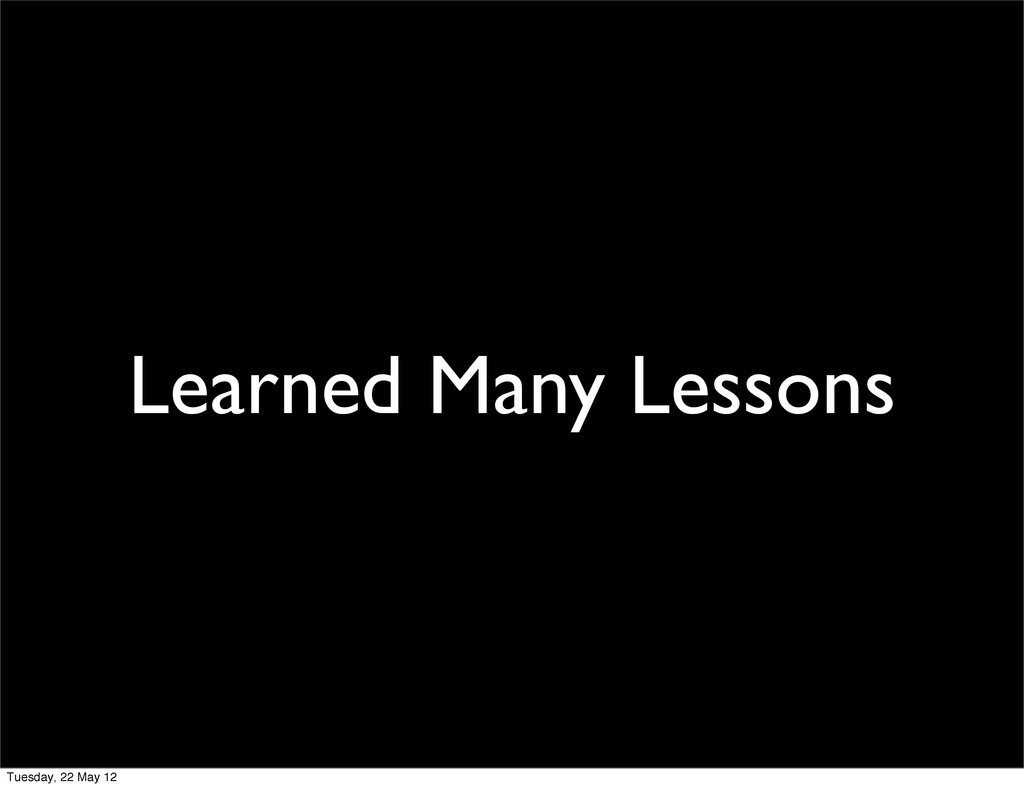 Learned Many Lessons Tuesday, 22 May 12