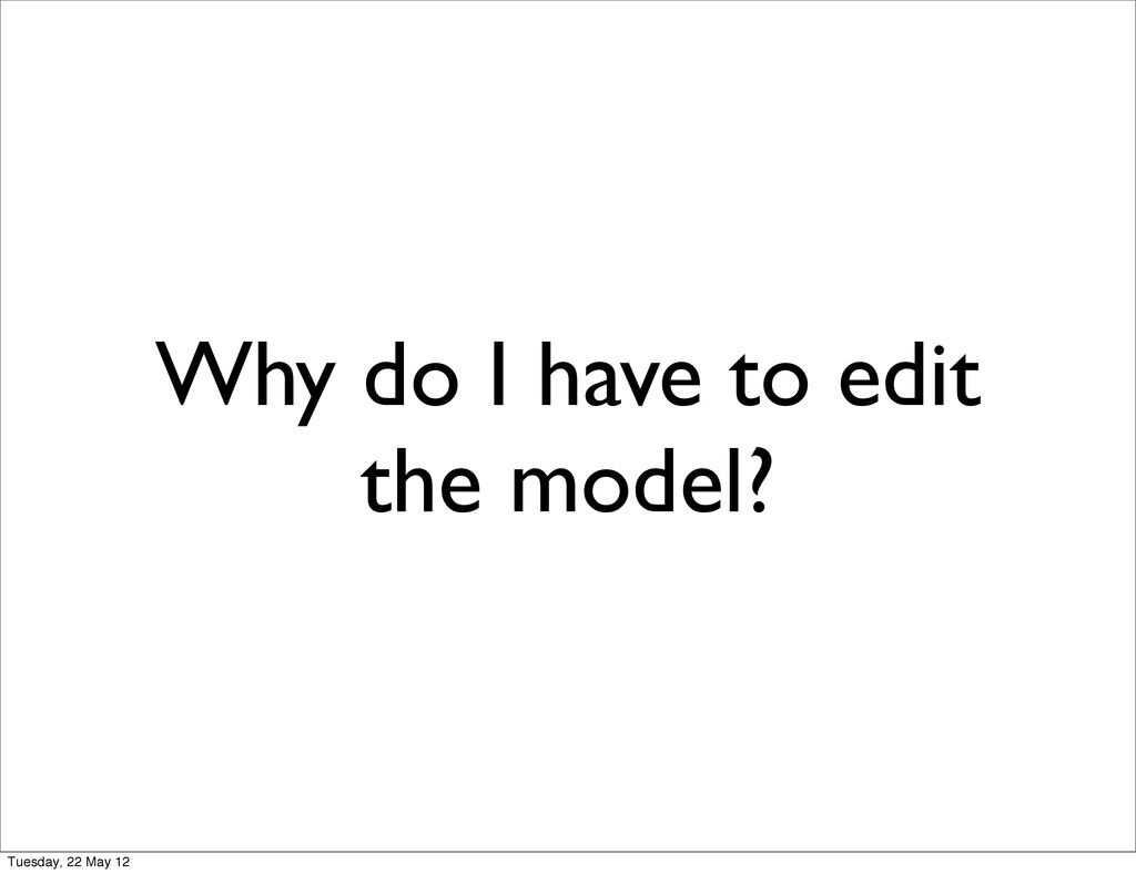Why do I have to edit the model? Tuesday, 22 Ma...