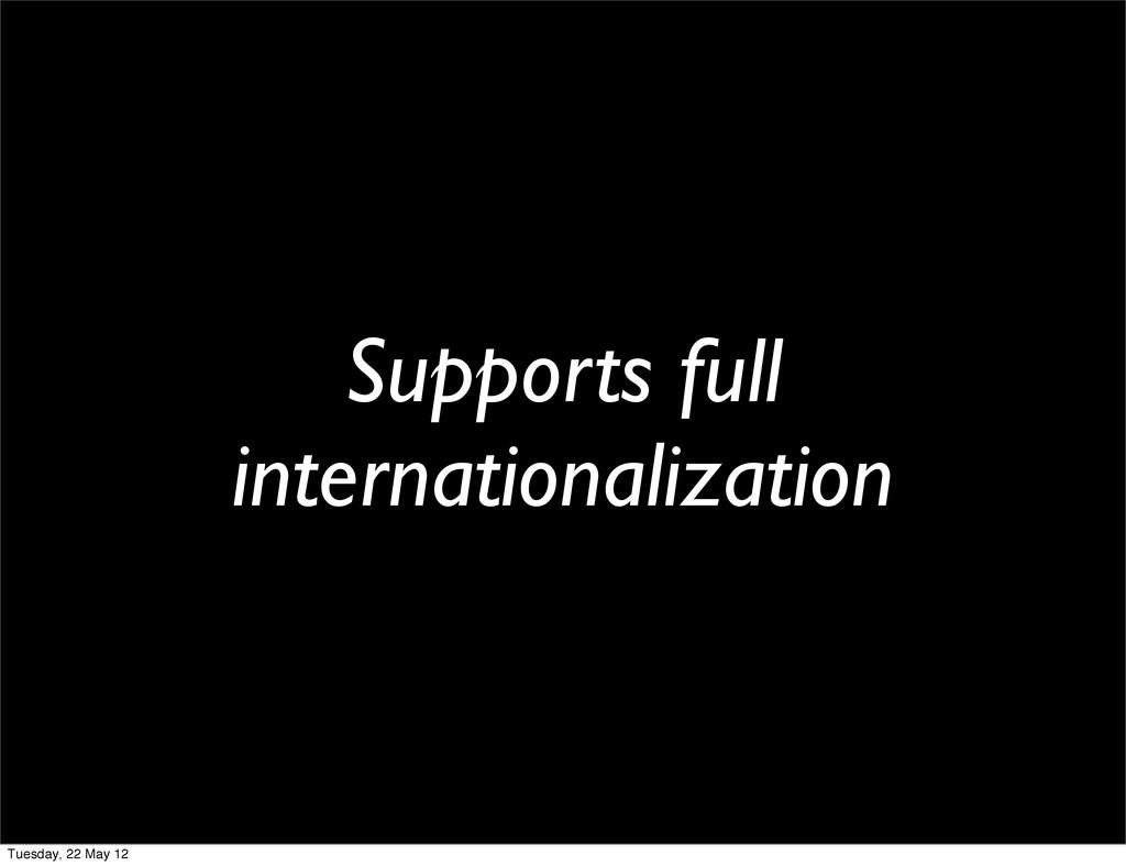 Supports full internationalization Tuesday, 22 ...