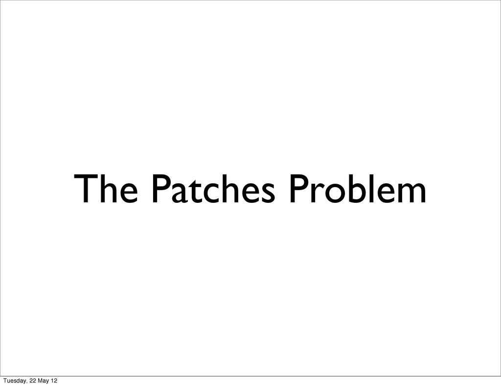 The Patches Problem Tuesday, 22 May 12