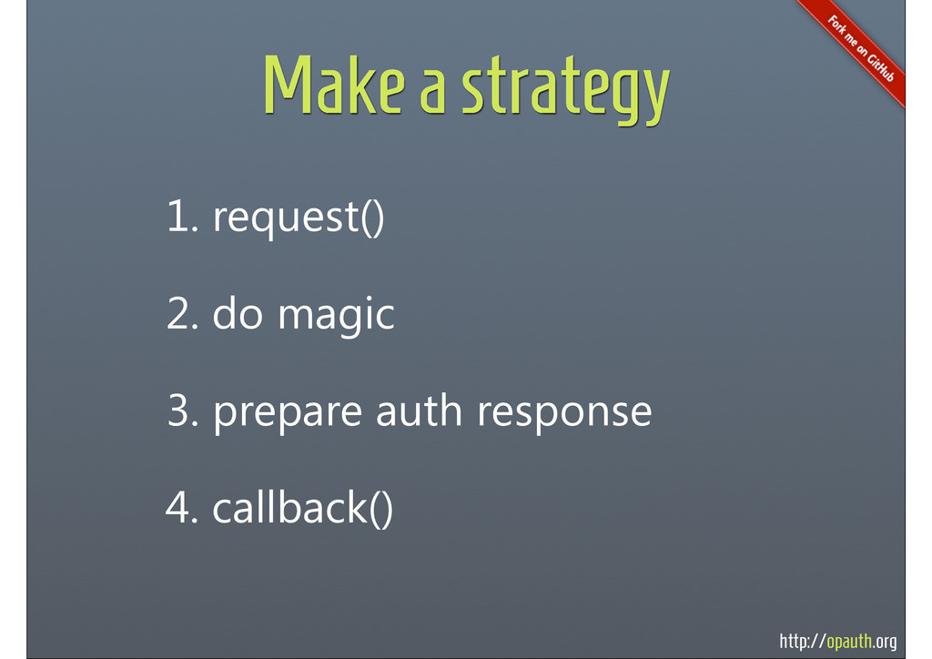 http://opauth.org Make a strategy 1. request() ...