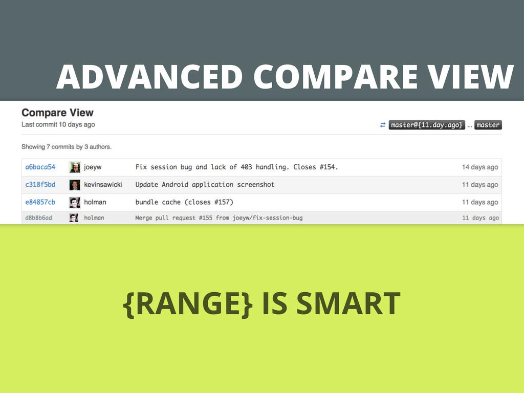 ADVANCED COMPARE VIEW {RANGE} IS SMART