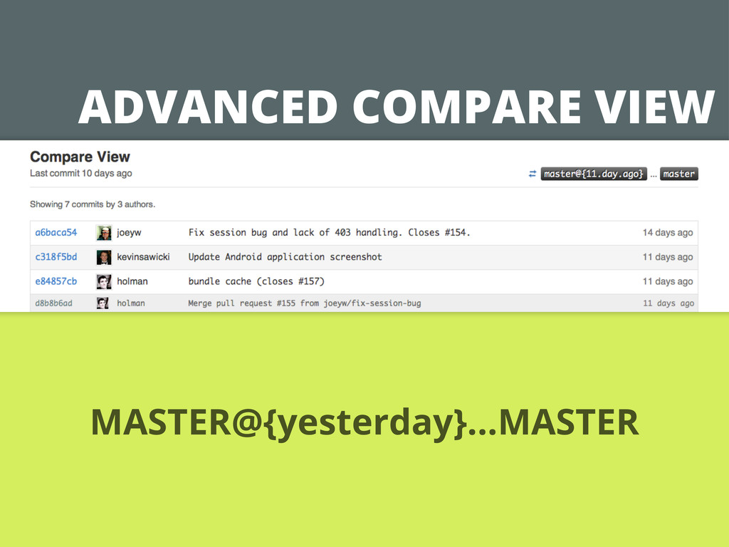 ADVANCED COMPARE VIEW MASTER@{yesterday}...MAST...
