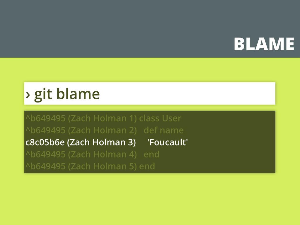 BLAME › git blame ^b649495 (Zach Holman 1) clas...
