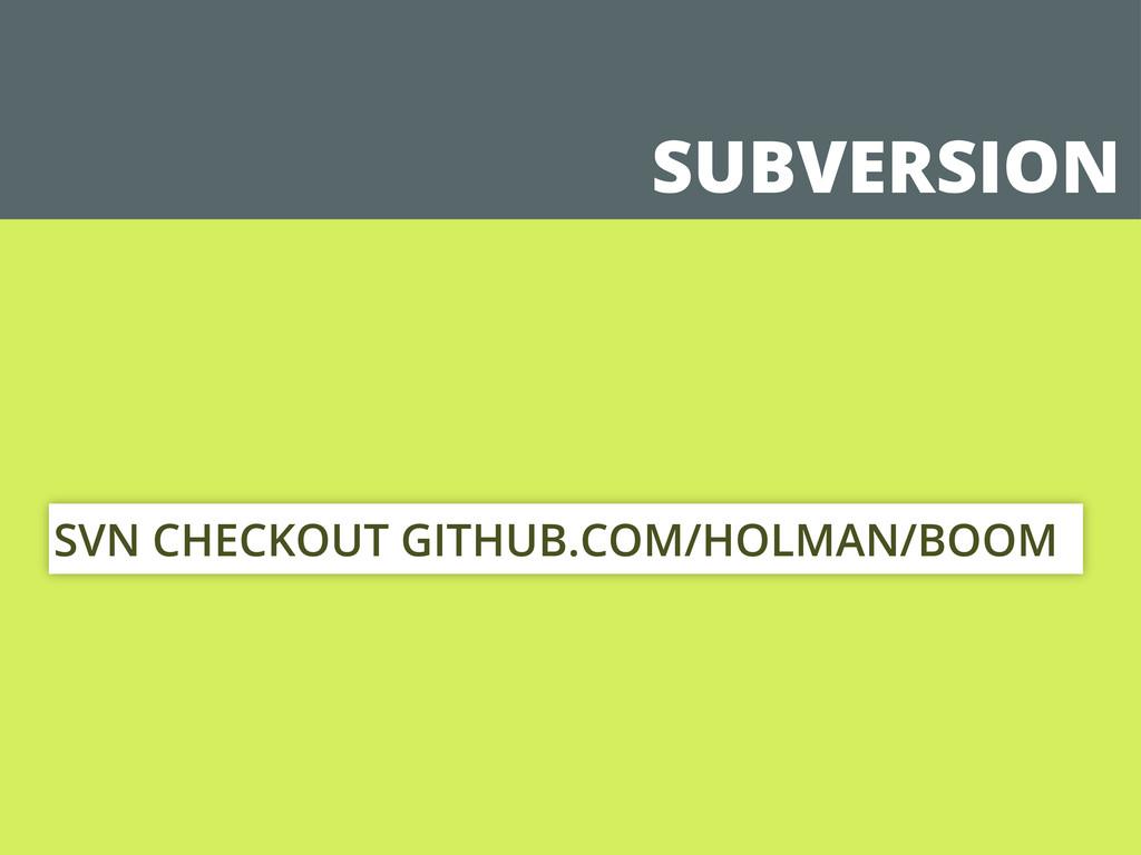 SUBVERSION SVN CHECKOUT GITHUB.COM/HOLMAN/BOOM