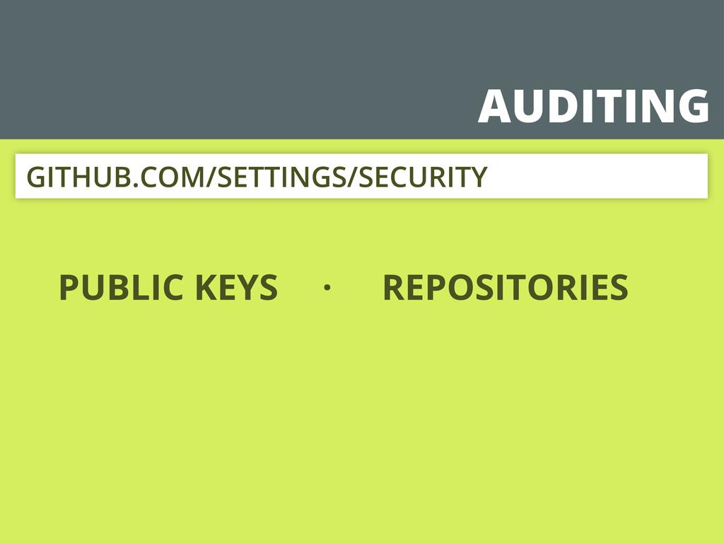 AUDITING PUBLIC KEYS GITHUB.COM/SETTINGS/SECURI...
