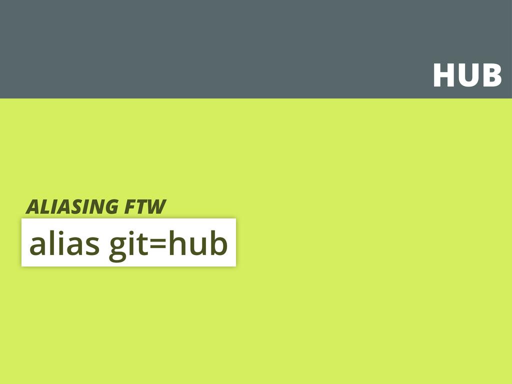 HUB alias git=hub ALIASING FTW