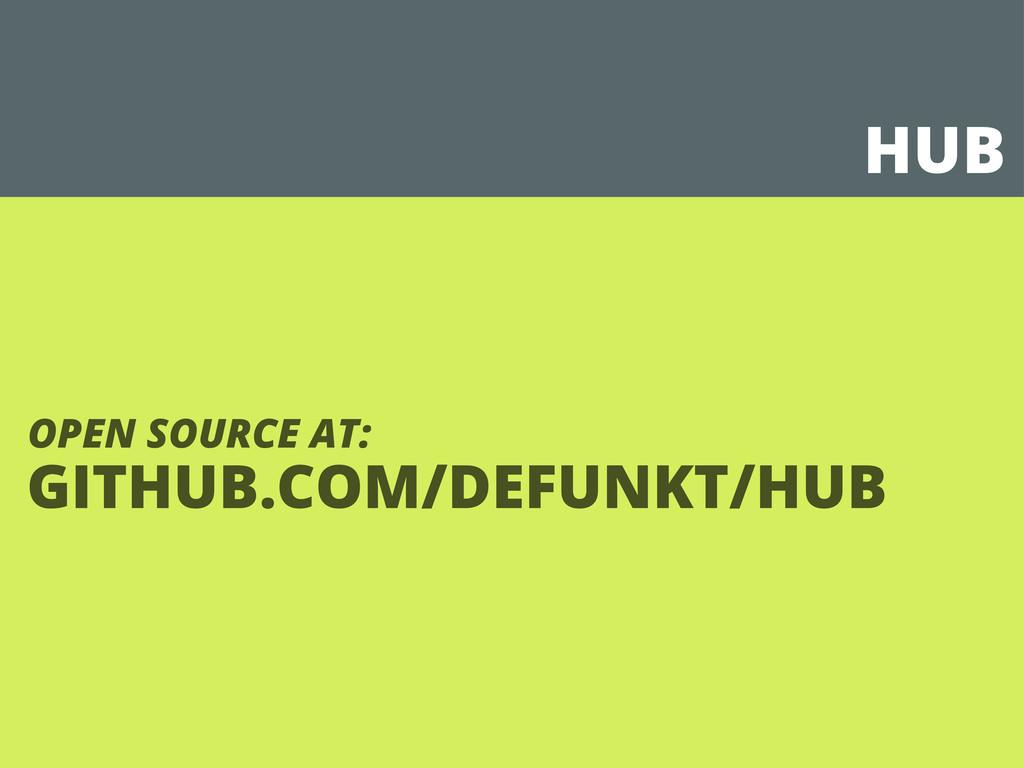 HUB GITHUB.COM/DEFUNKT/HUB OPEN SOURCE AT: