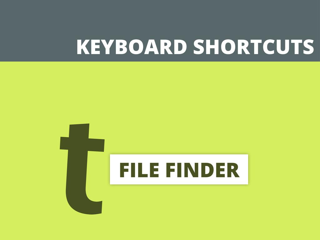 KEYBOARD SHORTCUTS tFILE FINDER