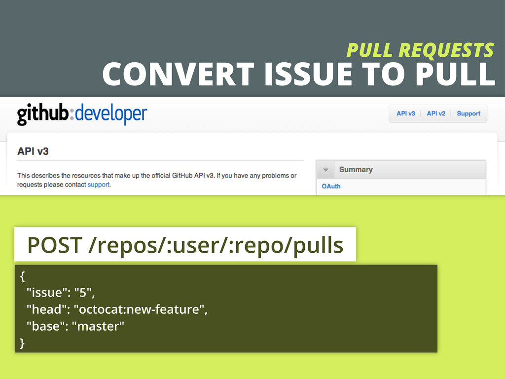 CONVERT ISSUE TO PULL PULL REQUESTS POST /repos...