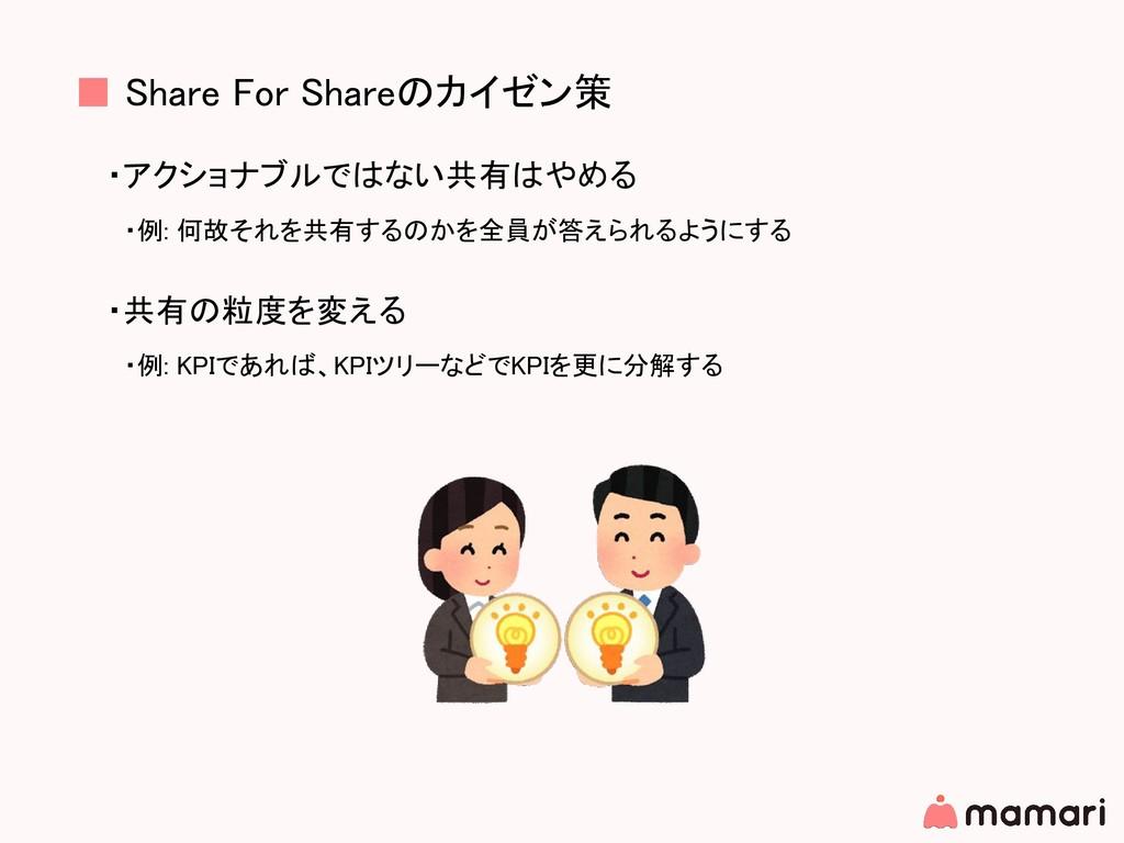 ■ Share For Shareのカイゼン策 ・アクショナブルではない共有はやめる  ・例:...