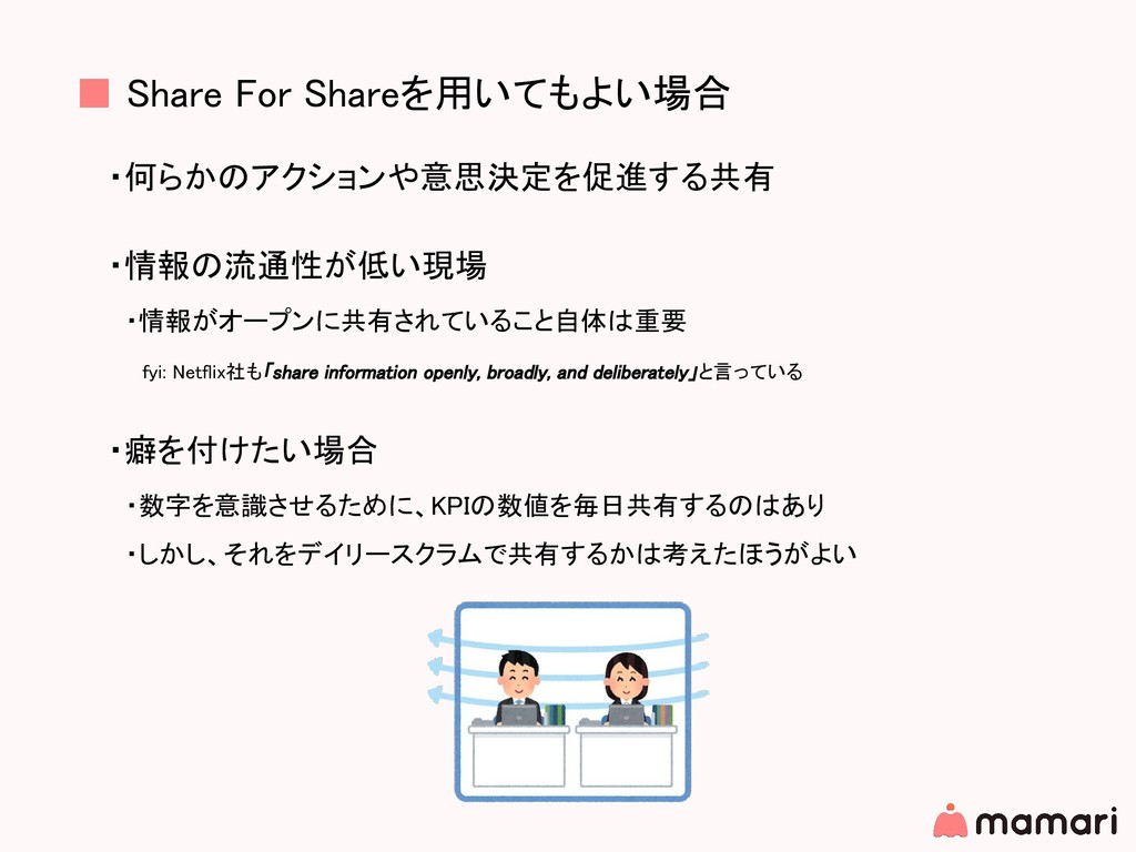 ■ Share For Shareを用いてもよい場合 ・何らかのアクションや意思決定を促進する...