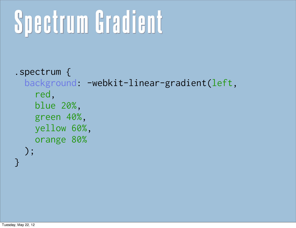 Spectrum Gradient .spectrum { background: -webk...
