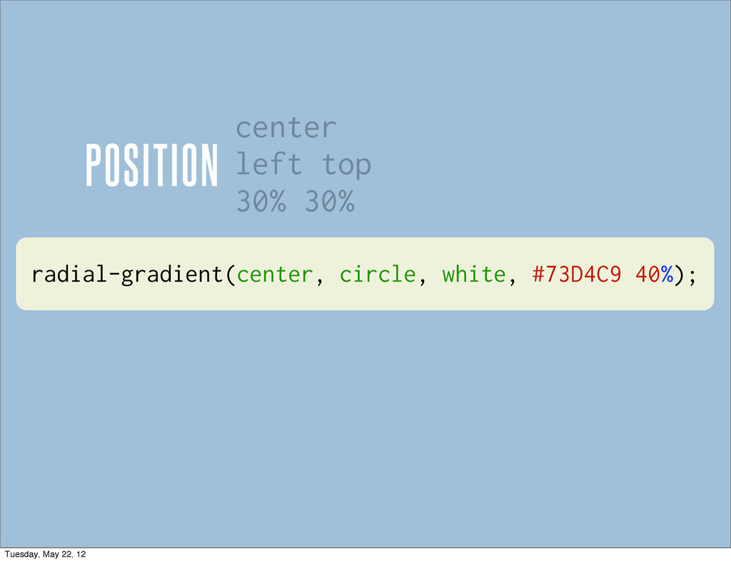 radial-gradient(center, circle, white, #73D4C9 ...