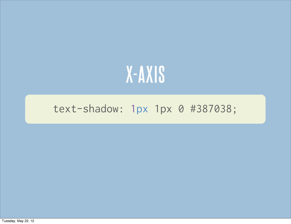 text-shadow: 1px 1px 0 #387038; X-AXIS Tuesday,...