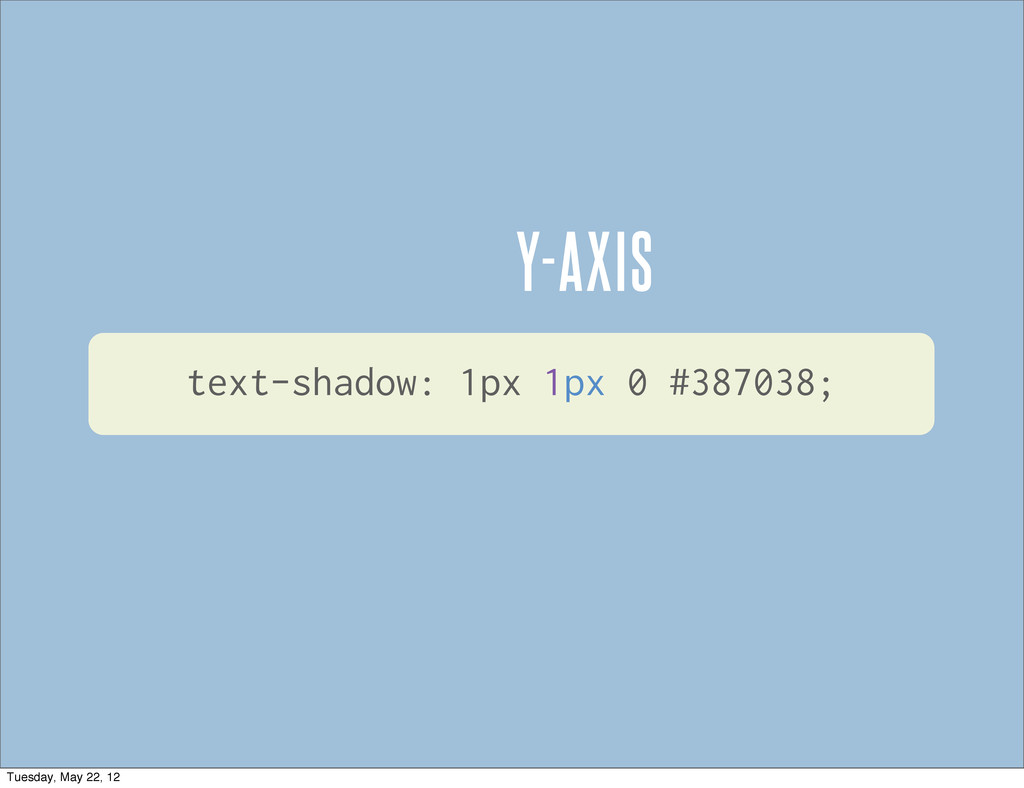Y-AXIS text-shadow: 1px 1px 0 #387038; Tuesday,...
