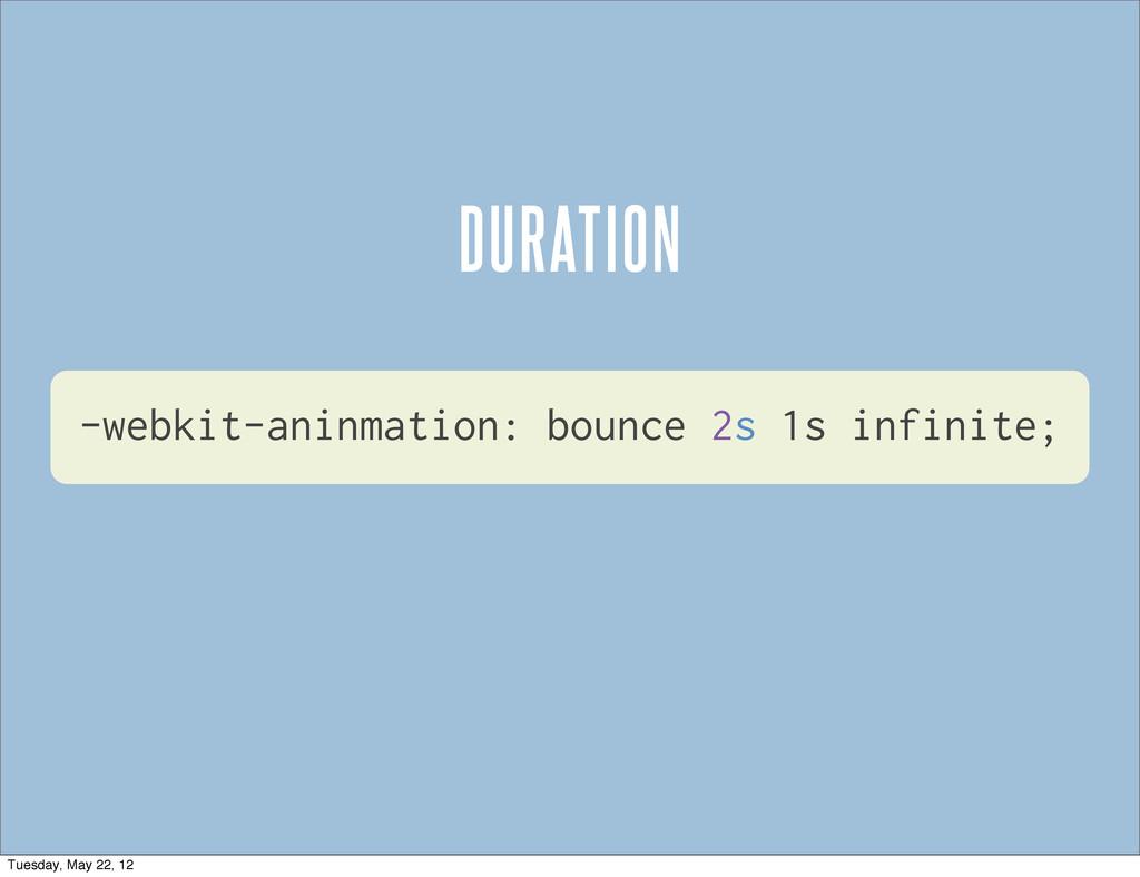 -webkit-aninmation: bounce 2s 1s infinite; DURA...