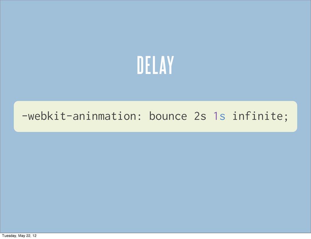 -webkit-aninmation: bounce 2s 1s infinite; DELA...