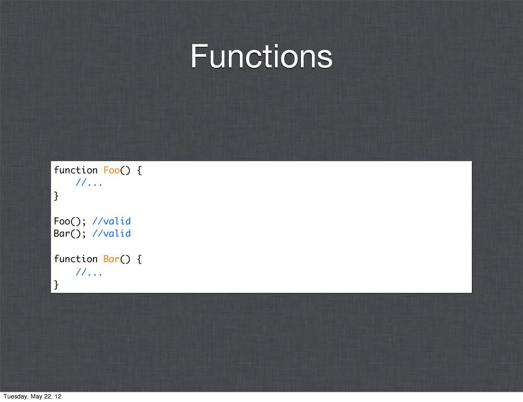 function Foo() { //... } Foo(); //valid Bar(); ...