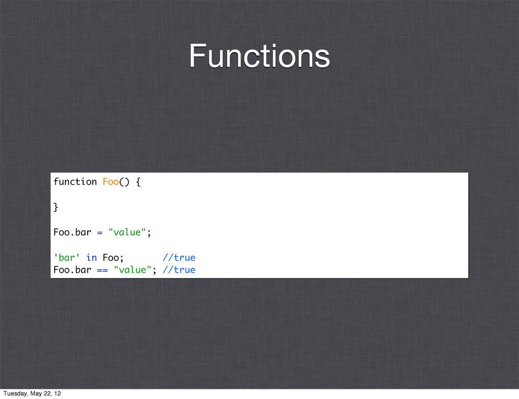 """function Foo() { } Foo.bar = """"value""""; 'bar' in ..."""