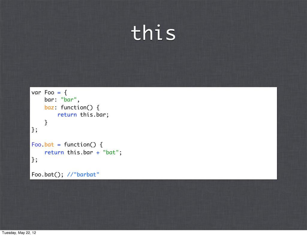 "var Foo = { bar: ""bar"", baz: function() { retur..."