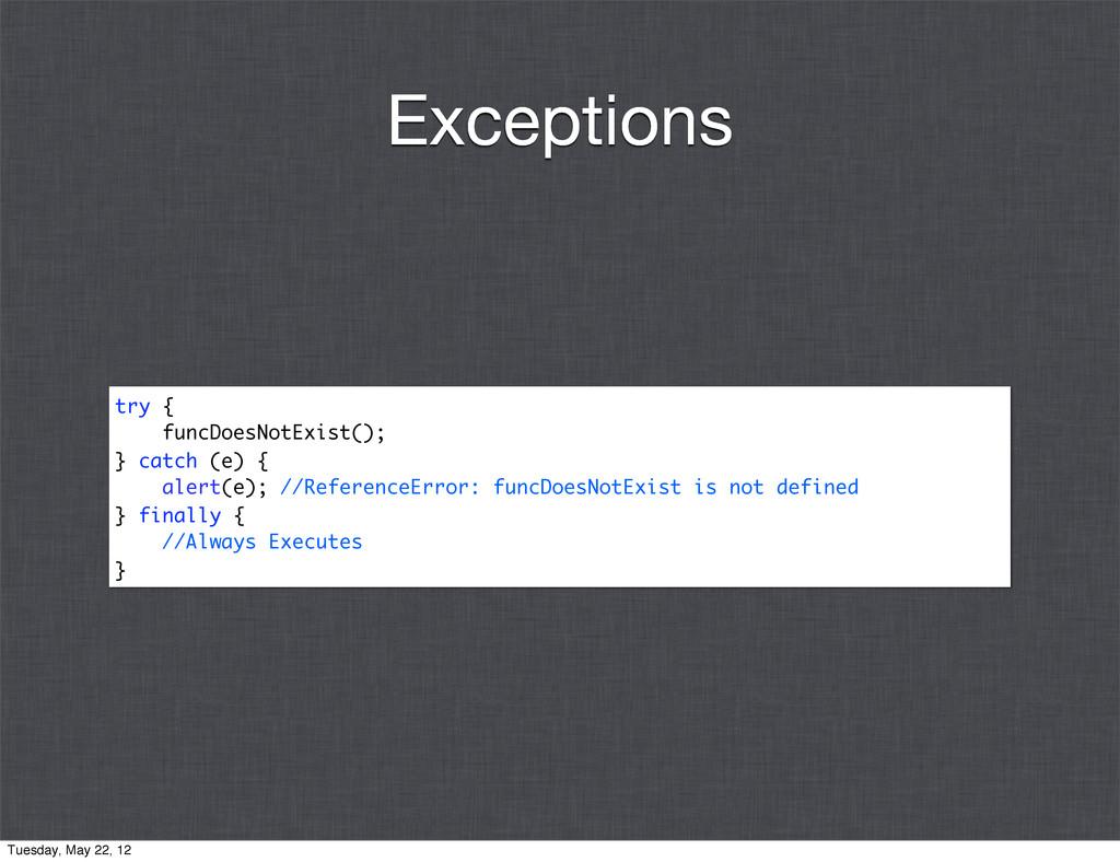 try { funcDoesNotExist(); } catch (e) { alert(e...