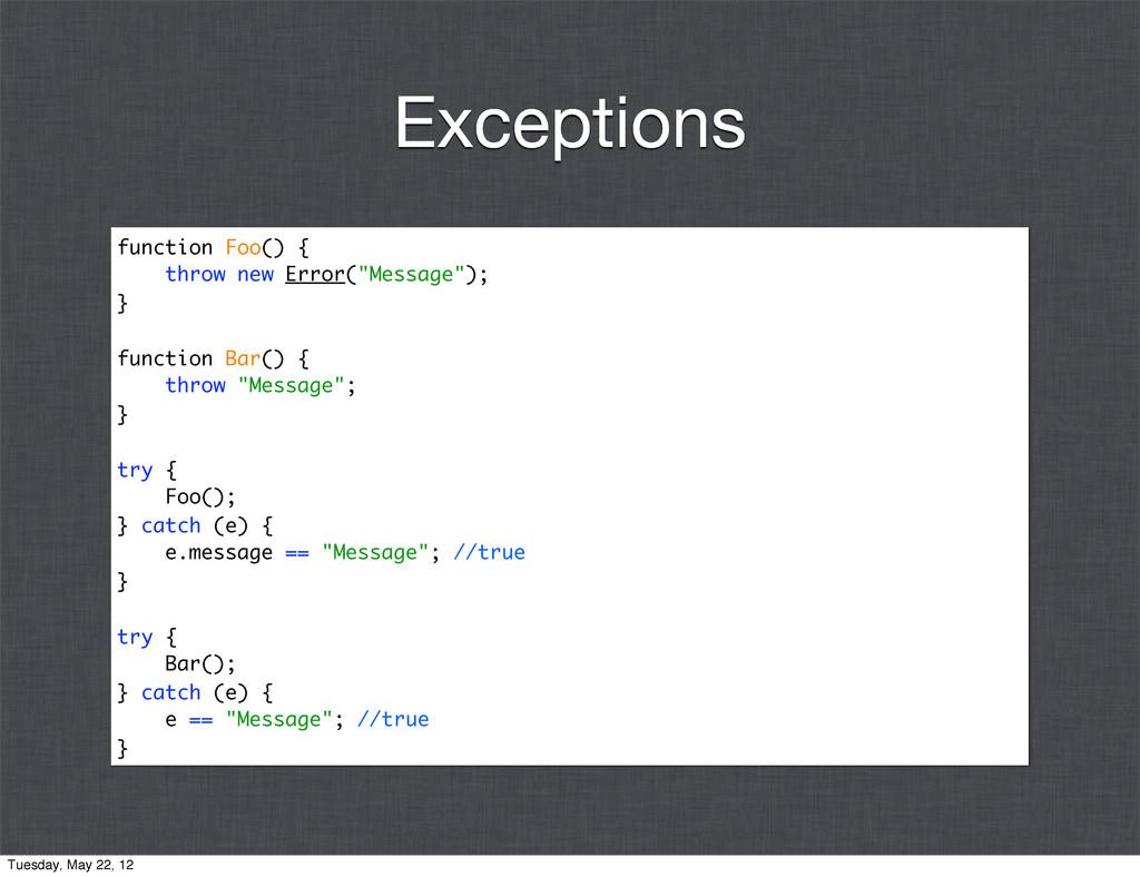"function Foo() { throw new Error(""Message""); } ..."