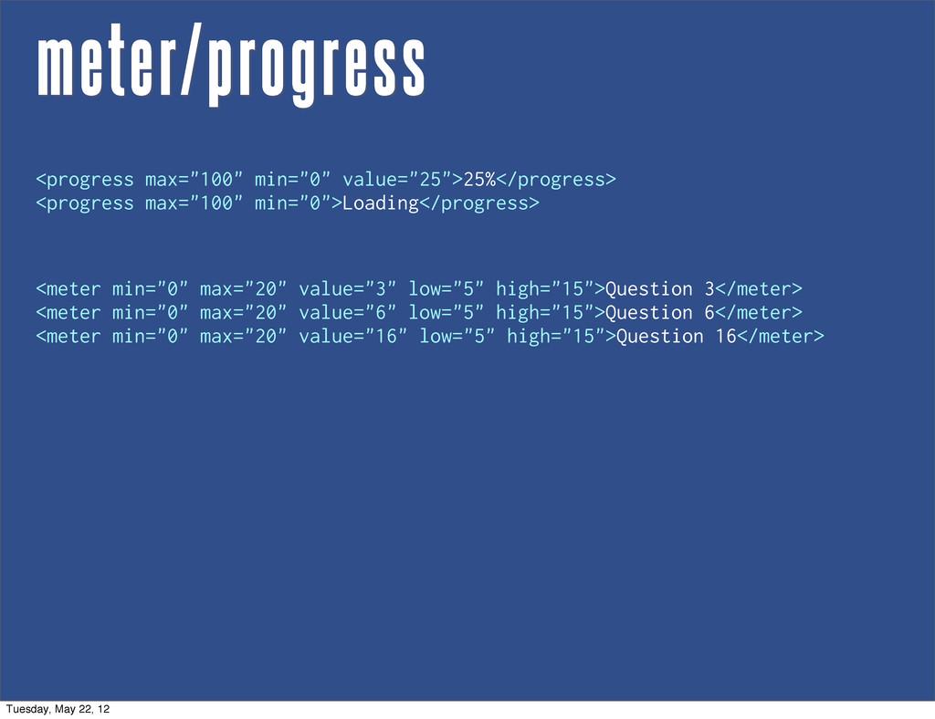 "meter/progress <meter min=""0"" max=""20"" value=""3..."