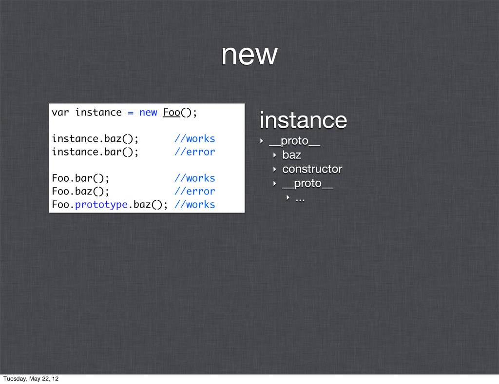 instance ‣ __proto__ ‣ baz ‣ constructor ‣ __pr...