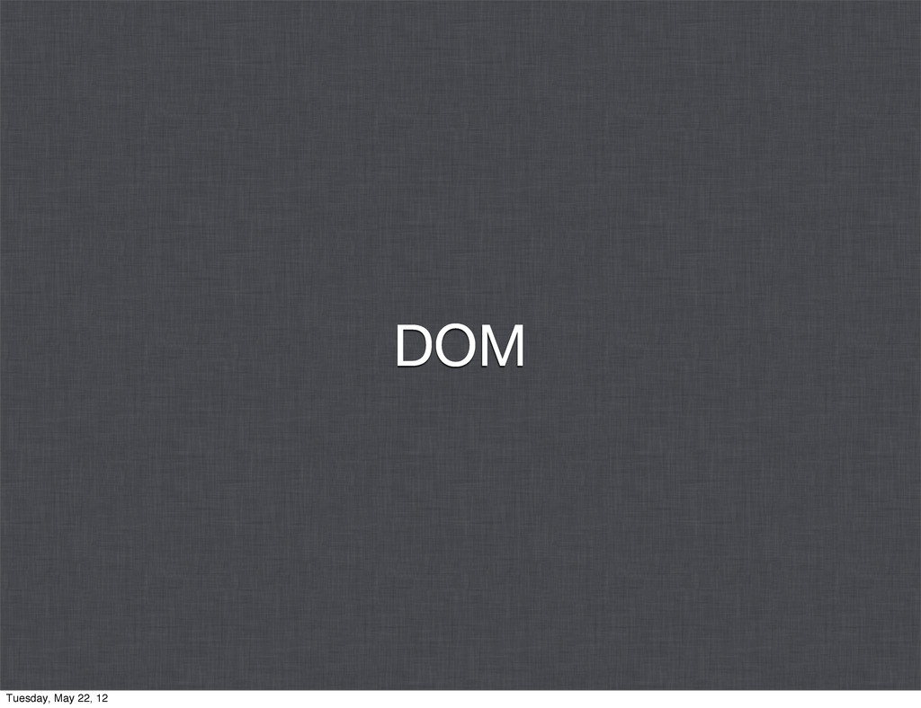 DOM Tuesday, May 22, 12