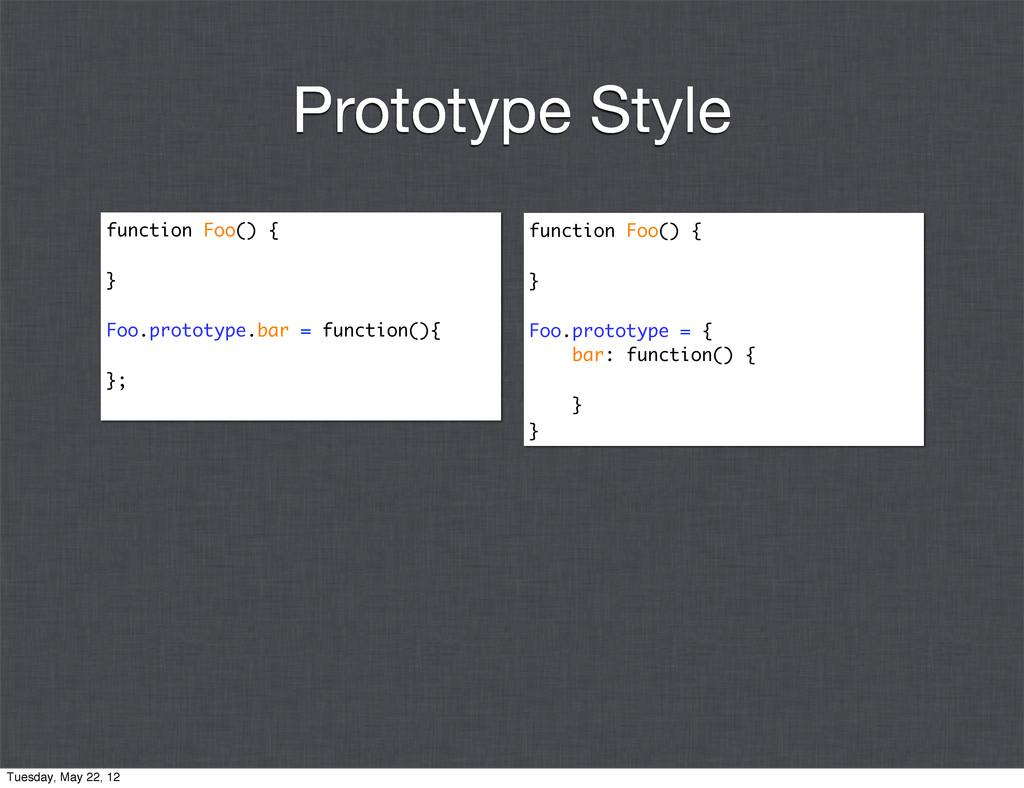 function Foo() { } Foo.prototype.bar = function...