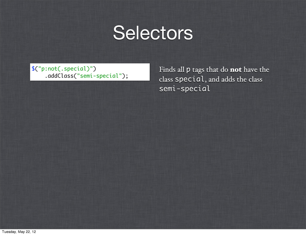 Finds all p tags that do not have the class spe...
