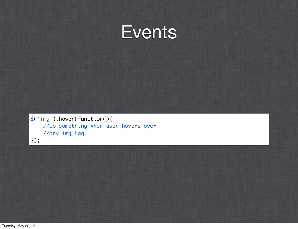 $('img').hover(function(){ //Do something when ...