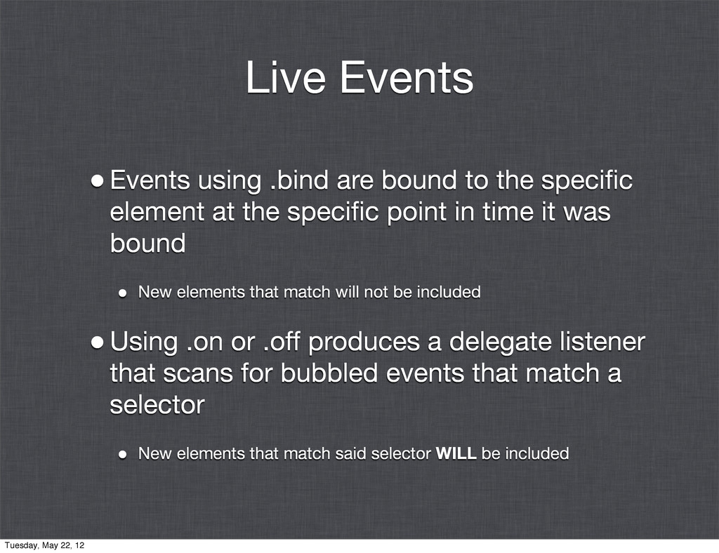 Live Events •Events using .bind are bound to th...