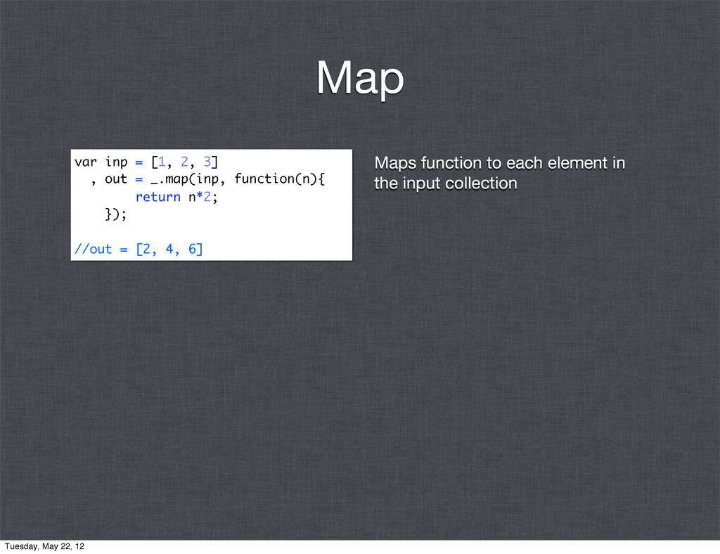 Maps function to each element in the input coll...