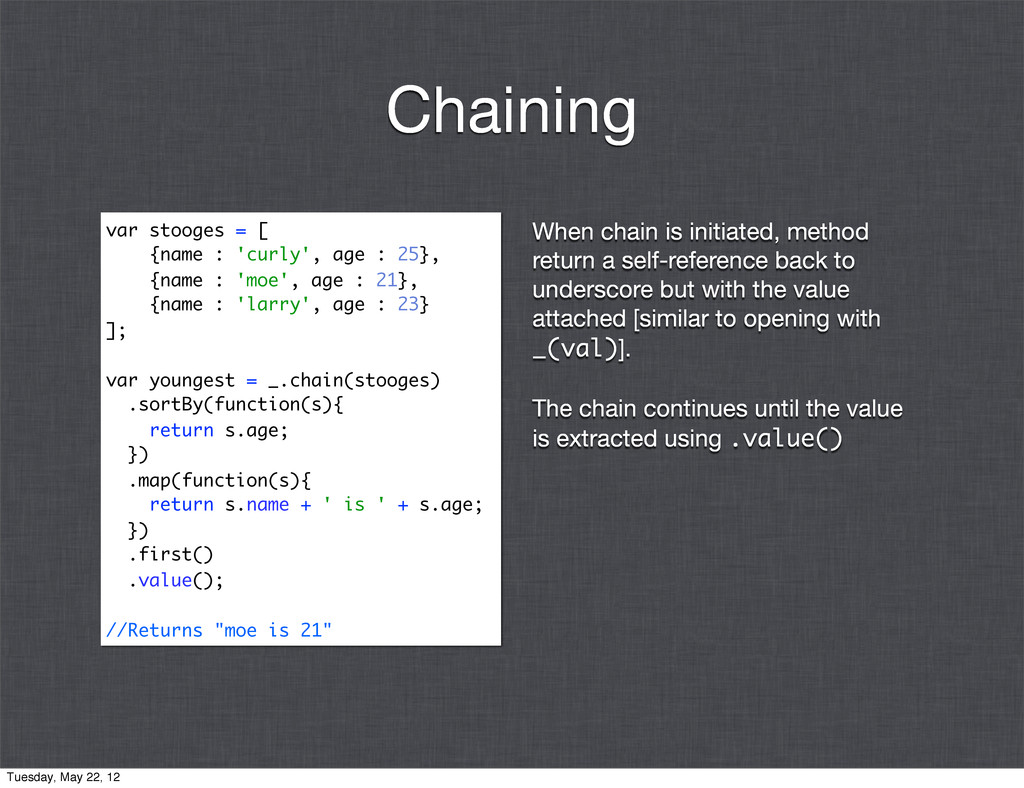 When chain is initiated, method return a self-r...