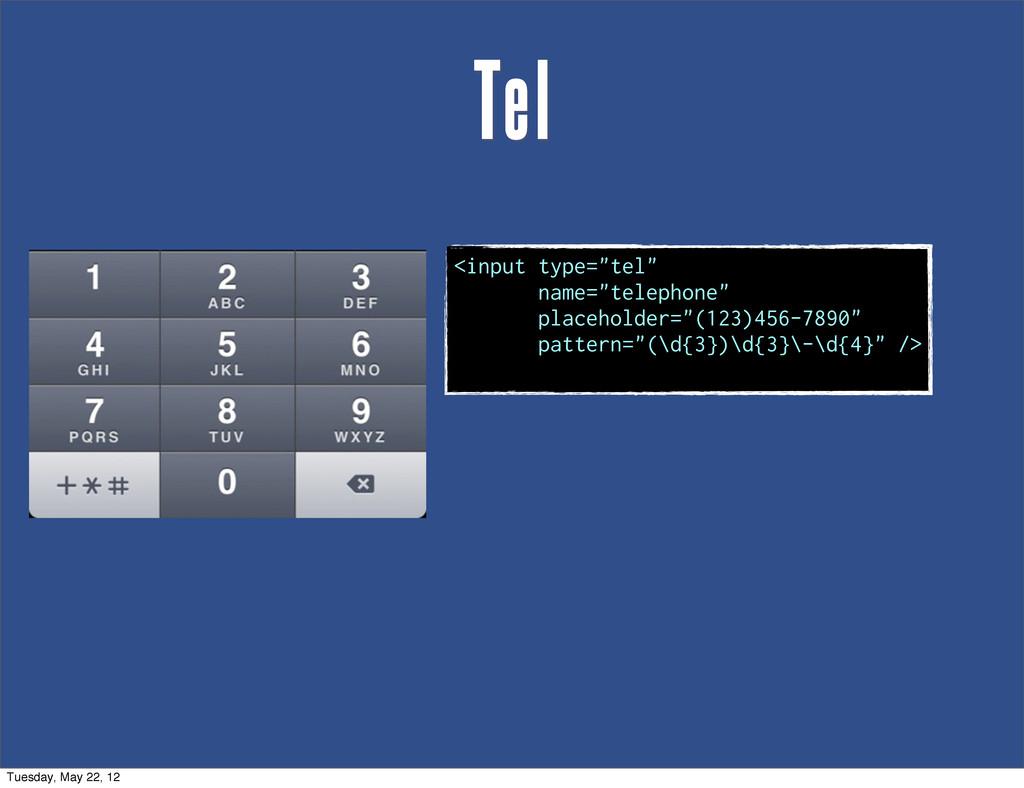 "Tel <input type=""tel"" name=""telephone"" placehol..."