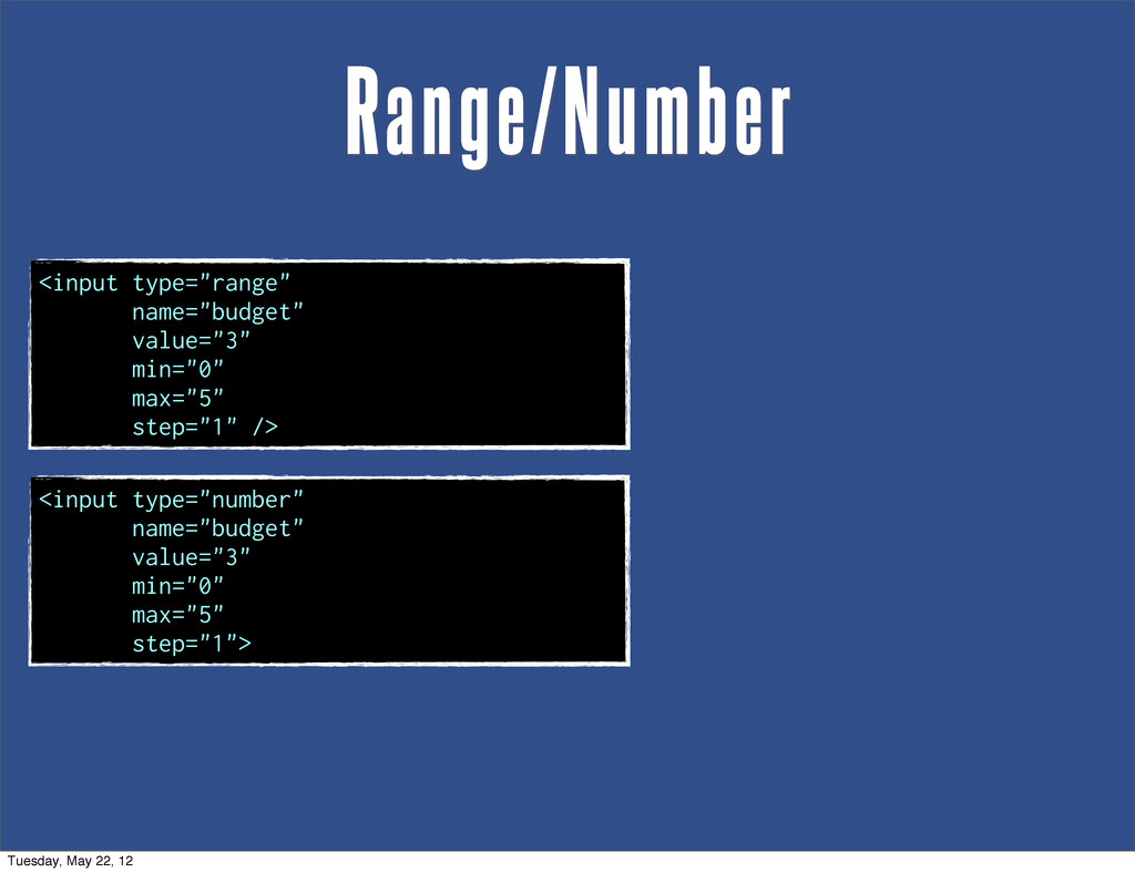 """Range/Number <input type=""""range"""" name=""""budget"""" ..."""