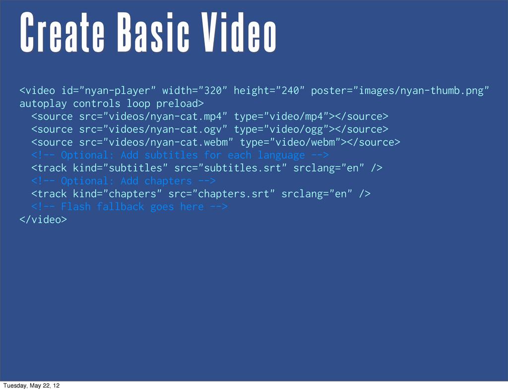"Create Basic Video <video id=""nyan-player"" widt..."