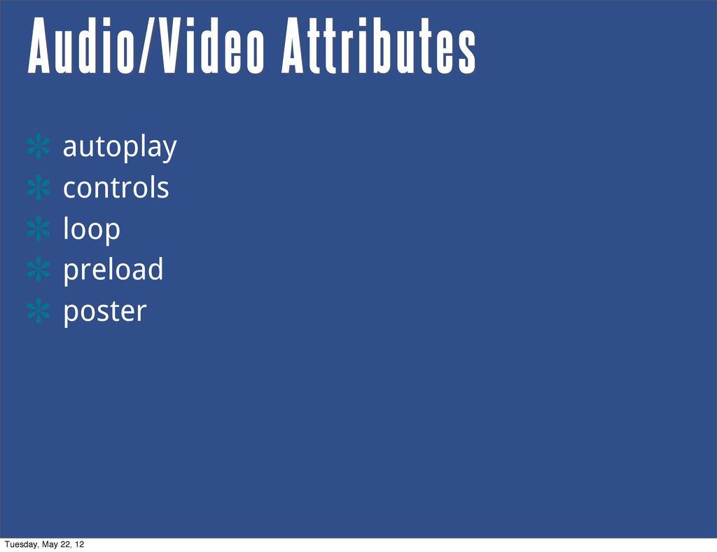 Audio/Video Attributes autoplay controls loop p...