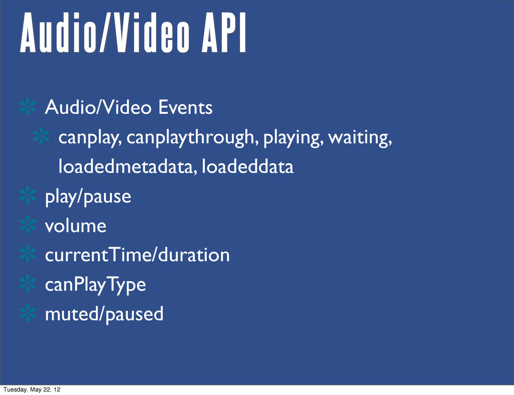 Audio/Video API Audio/Video Events canplay, can...