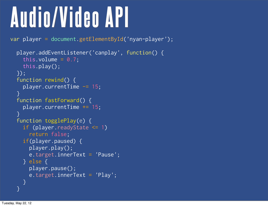 Audio/Video API var player = document.getElemen...