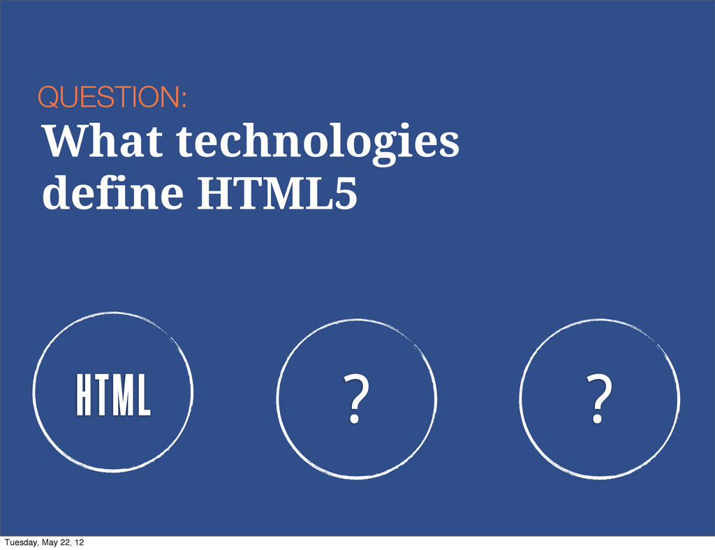 HTML ? ? QUESTION: What technologies define HTM...