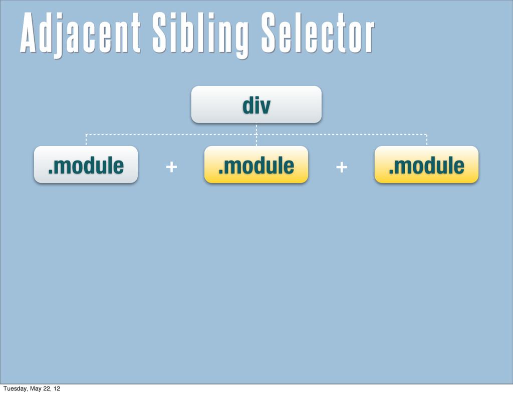 div .module .module .module + + Adjacent Siblin...