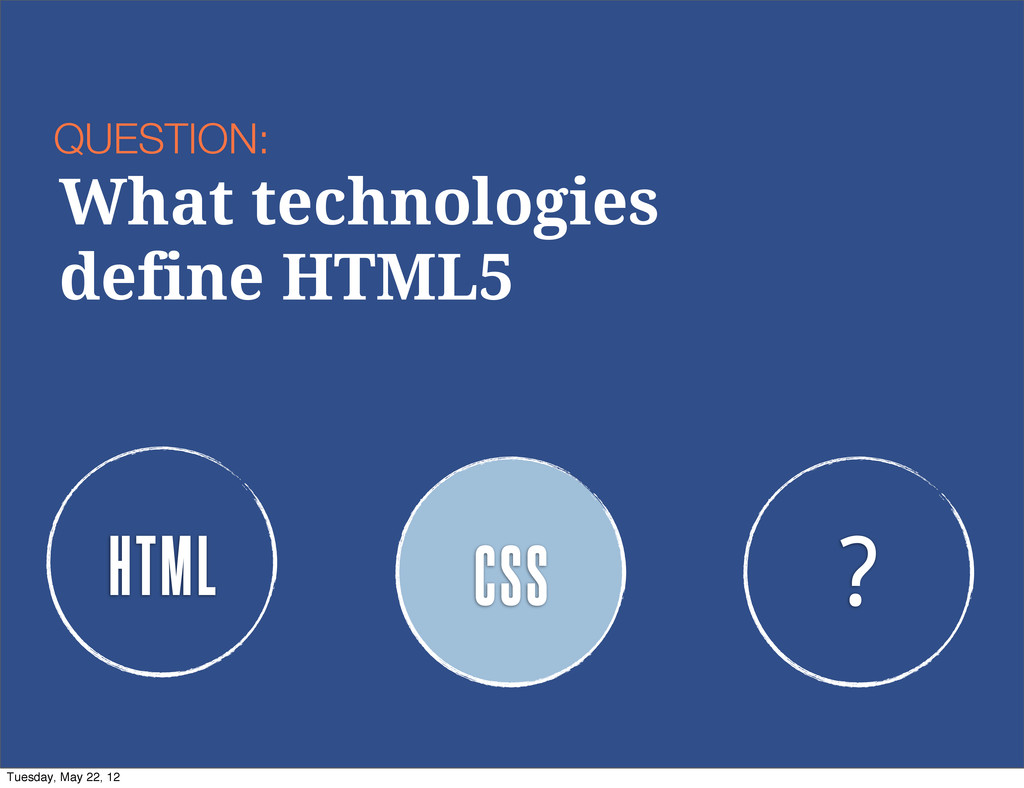 HTML CSS ? QUESTION: What technologies define H...